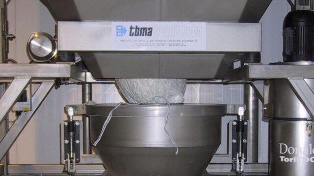 TBMA bigbag lossen hi-care klemhopper voor stofvrij lossen