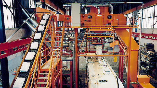 TBMA Galahad bag emptying machine for minerals industry