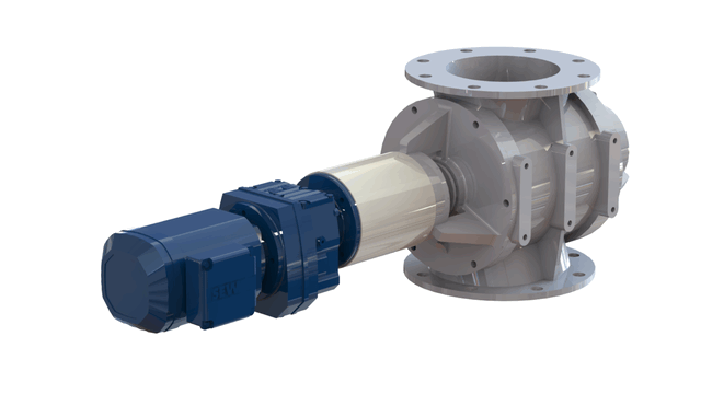 TBMA H-AR drop through rotary valve with in-line drive