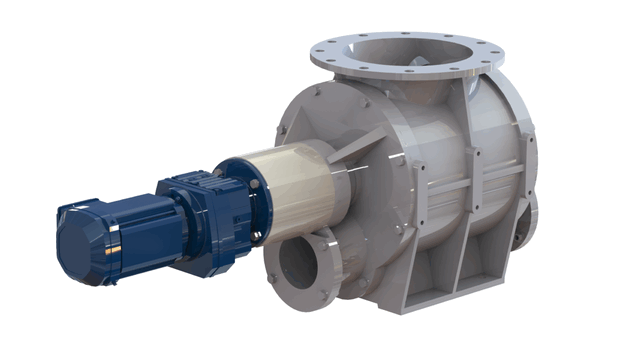 TBMA H-GR blow through rotary valve with in-line drive