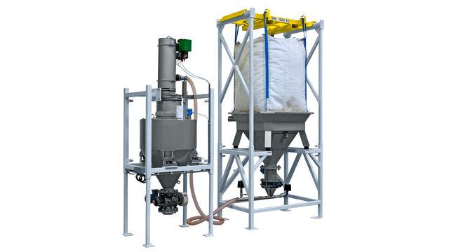TBMA Multi purpose Big Bag los-en doseerinstallatie voor mineralen industrie