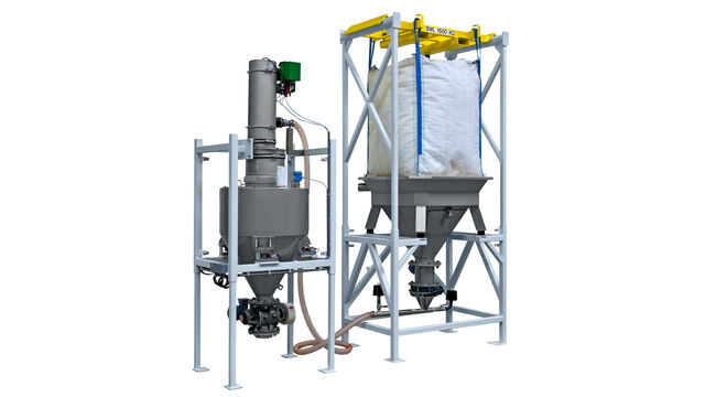 TBMA Multi purpose Big Bag unloading and dosing system for minerals industry