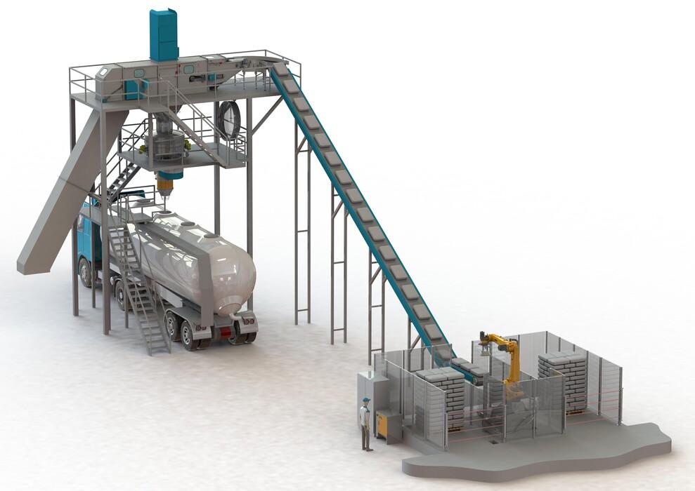 TBMA Ontwerp en levering van componenten en systemen | Project engineering | Maatwerk | Stortgoed handling | Galahad zakkensnij zakkenleeg machine met single of multi head robot