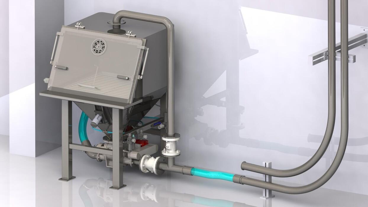 TBMA slimme oplossing voor vacuüm transport van kleverige producten met zakkenstortkabinet doseersluis doorvalsluis piab unit