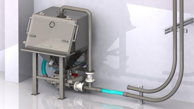 TBMA vacuum conveying for sticky product with bag dumping cabinet rotary blow through valve and piab